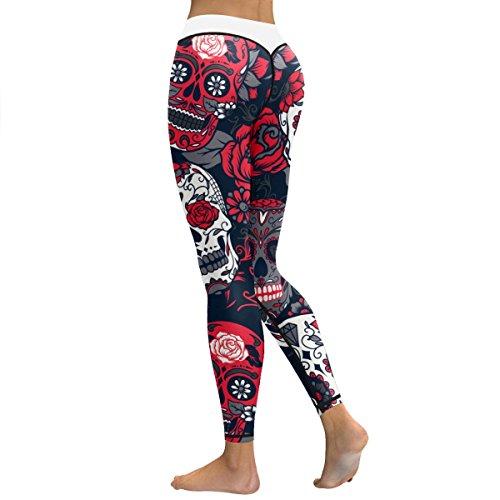 Women's Sugar Skull Print Yoga Workout Leggings Skinny Tights Active Yoga Pants (M, Sugar Skull 010) ()