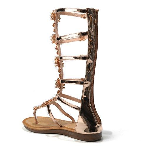 De Sandara Vrouwen Schoenen Hoge Sandalen Enkellaarsjes Strass Teen Trenner Romeinse Sandalen Gladiator Sandalen Glinsterende Metallic Goud