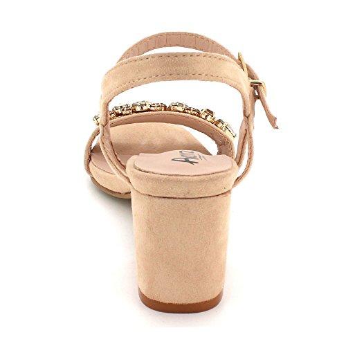 Chaussures Talon Sandales Mariage Bloquer Beige Taille Fête des Cristal Le Dames Diamante Soir Femmes De Moyen mariée de Bal IZqOwaPxS