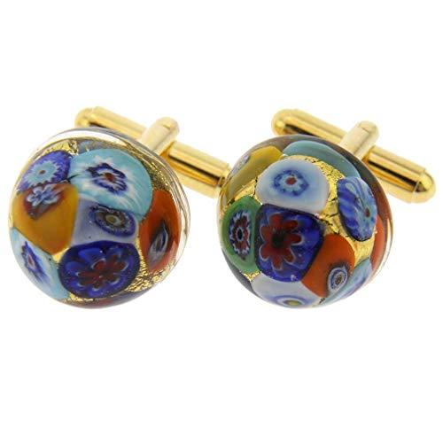 GlassOfVenice Murano Glass Millefiori Round Cufflinks - Gold Multicolor