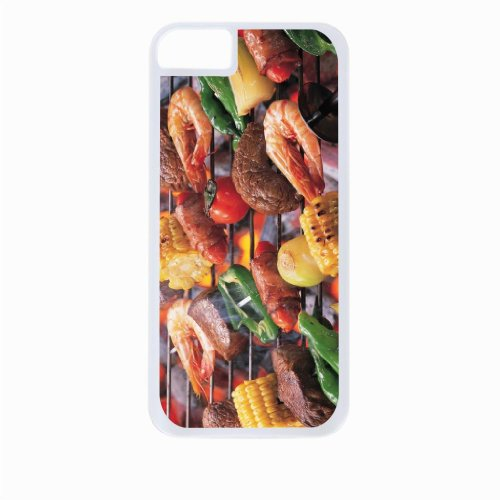 Barbeque Grill - Top View Iphone 5C Rubber DOUBLE LAYER PROTECTION white case - compatible with Iphone 5 5c