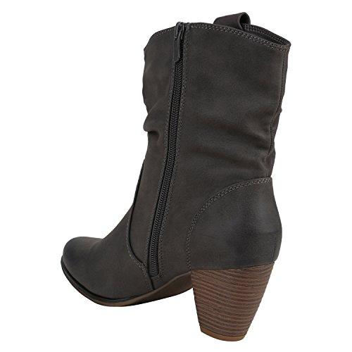 Stiefelparadies Damen Cowboy Boots Stiefel Holzoptikabsatz Leder-Optik Stiefeletten Blockabsatz Schuhe Metallic Glitzer Booties Flandell Grau Camiri