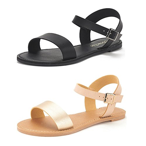 DREAM PAIRS Women's Hoboo-New Cute Open Toes One Band Ankle Strap Flexible Summer Flat Sandals 2 Pairs All Black and Gold Nude Size 10