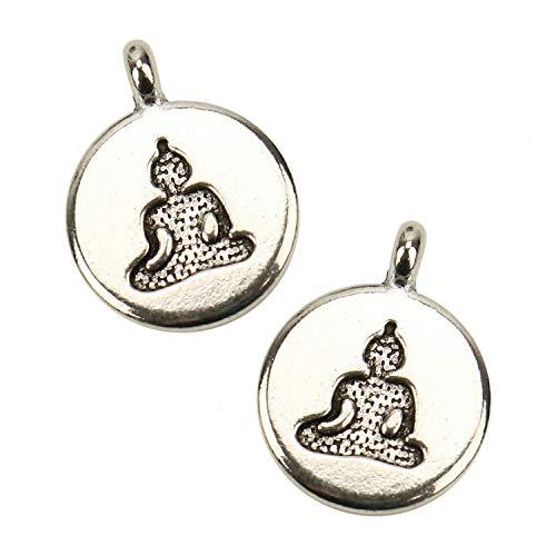 JETEHO 50 Pcs Antique Silver Meditating Buddha Charm Pendants Bulk Religious Charms for Jewelry Making