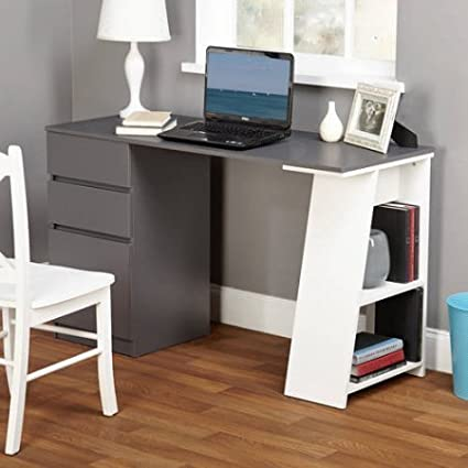 Como Writing Desk, White/Gray/Number of drawers: 3 TMS 97007BLK