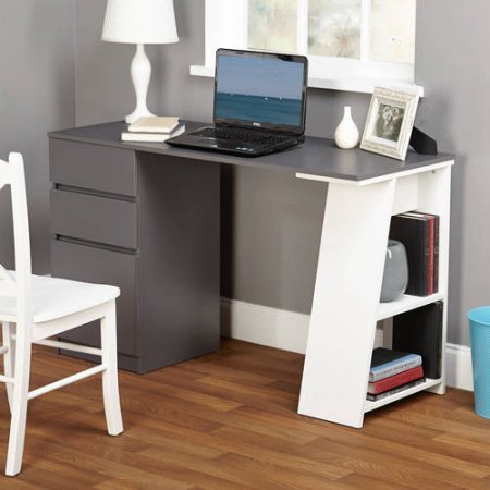 Como Writing Desk,White/Gray/Number of drawers: 3 TMS 97007BLK