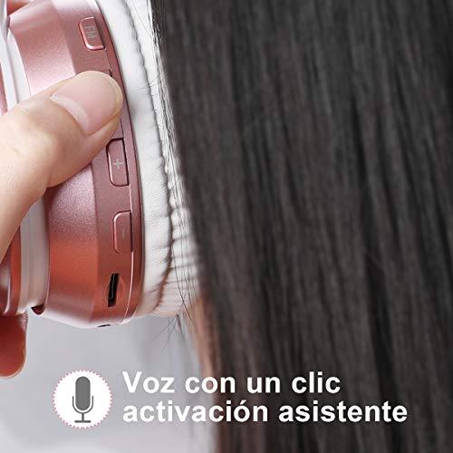 Ifecco cascos inhalabricos,auriculares inalambricos, auriculares diadema cable,auriculares bluetooth 5.0 diadema plegable,con microfono,MP3 / Radio FM(actualizar Oro Rosa)