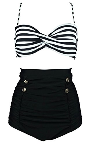 (COCOSHIP Black & White Stripe High Waisted Bikini Buttons Vintage Bathing Suit Ruched Swimwear XXXL(FBA))