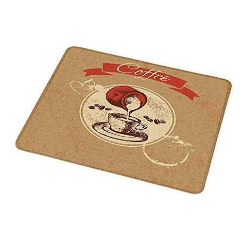 Taste Creamy - Gaming Mouse Pad Custom Design Mat Coffee Weathered Look Vintage Circle Frame Spilling Milk for a Creamy Taste Non-Slip Rubber Base Ideal for Keyboard PC and Laptop 9.8