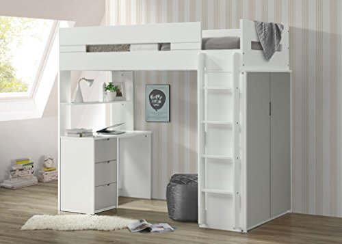 "Major-Q 9038050 70"" H Youth Style Gray/White Wooden Twin Loft Bed with Desk Shelf and Wardrobe"