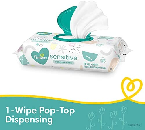 41sWIy2j30L. AC - Baby Wipes, Pampers Sensitive Water Based Baby Diaper Wipes, Hypoallergenic And Unscented, 8 Pop-Top Packs With 4 Refill Packs For Dispenser Tub, 864 Total Wipes (Packaging May Vary)