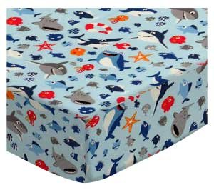 SheetWorld 100% Cotton Percale Fitted Crib Toddler Sheet 28 x 52, Baby Sharks Blue, Made in USA