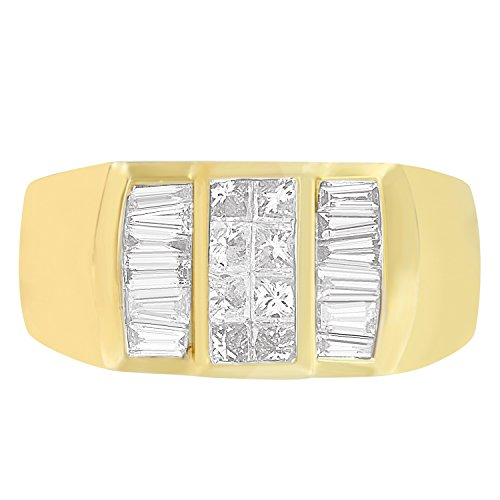 14K Yellow Gold Princess and Baguette Cut Diamond Men's Ring (1.75 cttw, H-I Color, I1-I2 Clarity)