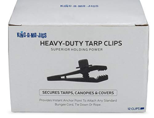 12 Pack - Tarp Clips - 12 Heavy Duty Tarp Clips - Secures Tarps, Tents, Awnings, Banners or Covers - Locking Clamp Design for Superior Holding Power (12 Pack) by KING-A-MA-JIGS