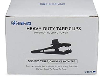 12 Pack - Tarp Clips - 12 Heavy Duty Tarp Clips - Secures Tarps, Tents,  Awnings, Banners or Covers - Locking Clamp Design for Superior Holding  Power