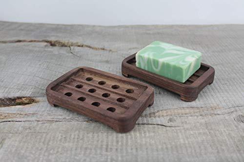 (Wooden Draining Walnut Soap Dish)