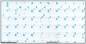Orange White OR Yellow Lettering RED Danish Keyboard Decals ON Transparent Background with Blue Red 14X14