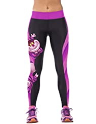 Ninimour- Womens 3d Digital Printed Workout Capri Leggings Stretch Tights