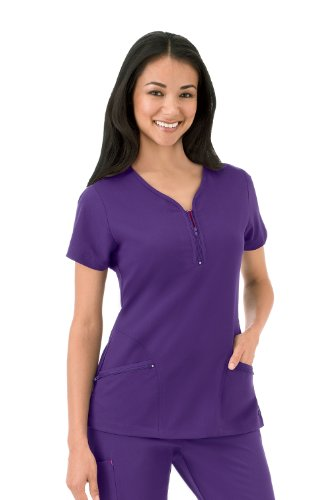 - Modern Fit Collection by Jockey Scrubs Women's Zipper Pocket Y-Neck Solid Scrub Top X-Large Eggplant