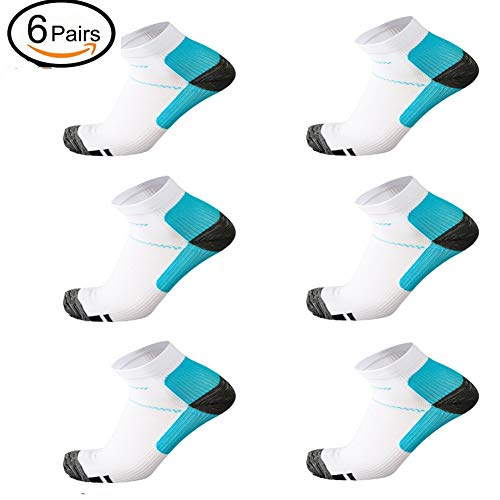 6 Pairs Medical&Althetic Compression Socks for Men Women, 15-20 mmHg Nursing Plantar Fasciitis Arch Support,Compression Ankle Socks for Running Marathon Travel Flight (6Pair White Blue)  Price: $12.99
