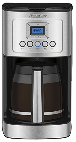 Cuisinart DCC-3200 14-Cup Glass Carafe with Stainless Steel Handle Programmable Coffeemaker, Silver (Espresso Cups Handle No)