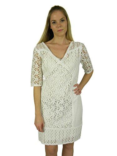 Yoana Baraschi Lace (Yoana Baraschi Womens Crystal White Crochet Lace Short Sleeve Dress 10)