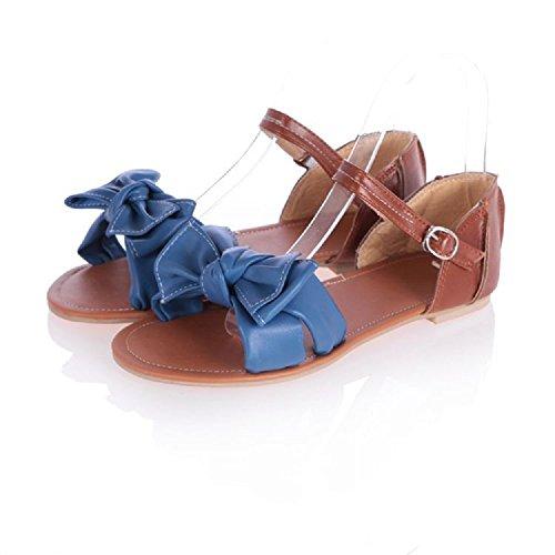 Sandalias Planas Dulces de Las Mujeres Sandalias del Vestido Bohemio de la Correa del Tobillo del Arco Ocasional Blue
