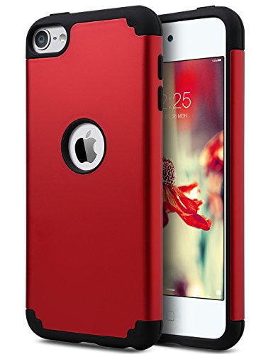iPod Touch 6 Case,iPod 6 Case,ULAK Slim Dual Layer Protective Case Fit for Apple iPod Touch 5/6th Generation Hybrid Hard Back Cover and Soft Silicone-Red/Black