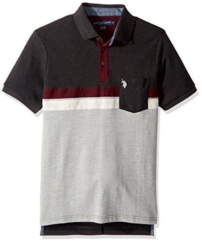(U.S. Polo Assn. Men's Classic Fit Color Block Short Sleeve Pique Polo Shirt, 8351-Black Heather, M)
