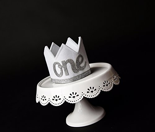 Baby Girl and Boy FIRST BIRTHDAY Sparkly Silver ONE Crown I Am 1 by Birdy Boutique (Image #6)