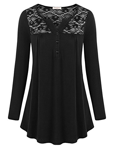 Nomorer Long Sleeve Shirt Women, Casual Loose Comfy Tops Feminine Floral Lace Drapey Flare Long Knit Shirts (Black L)