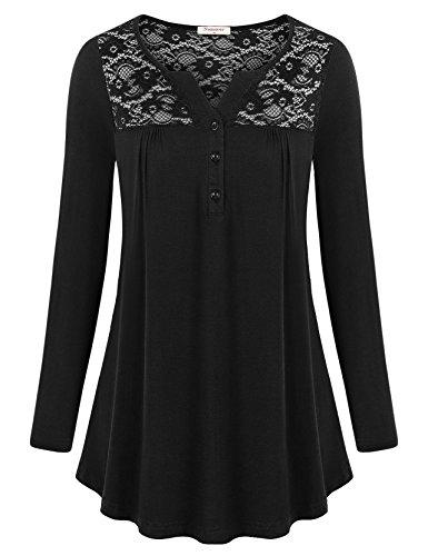 Nomorer Long Sleeve Blouse, Winter Long Sleeve Trendy Sheer Floral Lace Tops Basic Split V Neck Autumn Shirts (Black XL)