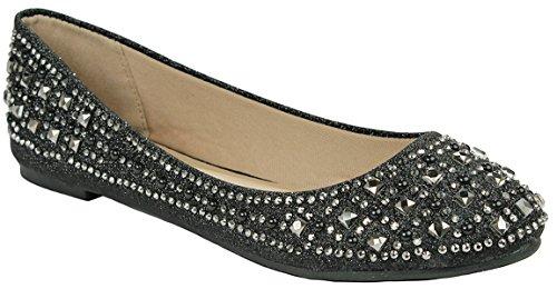 Femmes Étincelant Perle Strass Paillettes Maille Mocassins Slip Sur Ballet Chaussures Plates Habillées Black_crunch