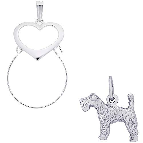 Dog Charm Terrier Kerry Blue (Rembrandt Charms Kerry Blue Terrier Charm on a Rembrandt Charms Heart Charm Holder)