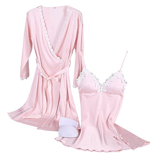 Pink Short Nightgown (Aibrou Womens Satin Sleepwear 2 Piece Set Lace Cami Nightgown and Robe (Pink, XX-Large))