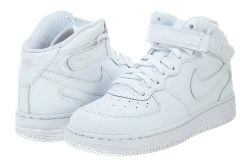 Nike Kids Force 1 Mid  White/White/White Basketball Shoe 3 K