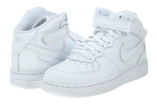 e6c338dbde0008 Galleon - NIKE  314196-113  AIR Force 1 MID (PS) PRE-School Shoes White  White