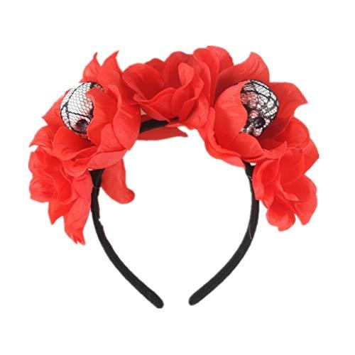 FEDULK Womens Adjustable Headband Spider Mesh Halloween Headdress Rose Flower Prom Accessories(Red1)