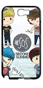 5 Seconds of Summer pop rock band HD image case for Samsung Galaxy Note 2 N7100 black + Card Sticker