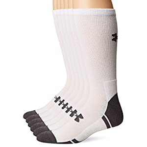 Under Armour Resistor 3.0 Crew Athletic Socks (6 Pack), White/Graphite, Large