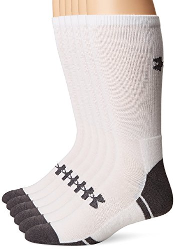 Under Armour Resistor 3.0 Crew Athletic Socks (6 Pack), White/Graphite, Medium
