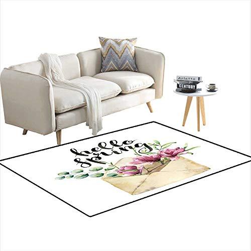 Room Home Bedroom Carpet Floor Mat Watercolor olenvelope wi Spring Greenery Eucalyptus anmagnolia Hanpaintefloral carwi Flower Silver Dollar Eucalyptus 3'x5']()