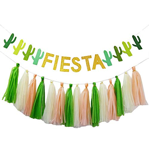 Fiesta Cactus Llama Party Supplies Decorations,Fiesta Cactus Banner Tassels Garland for Mexican Theme Cinco De Mayo/Bachelorette/Taco/Summer/Cabo/Tropical/Succulent Themed Party