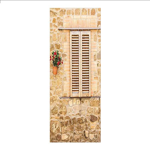 Pot Painter Wall - 3D Decorative Film Privacy Window Film No Glue,Tuscan,Rustic Stone House and Window Shutters Flower Pot on Wall Italian Country Home Theme,Beige,for Home&Office