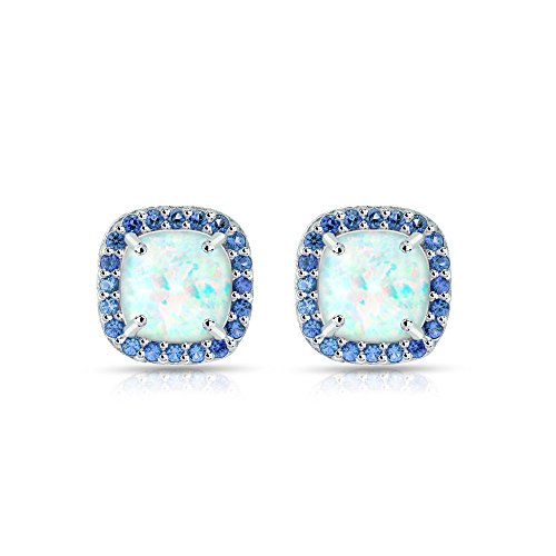 Sterling Silver Simulated White Opal and Blue Sapphire Cushion-cut Halo Stud Earrings