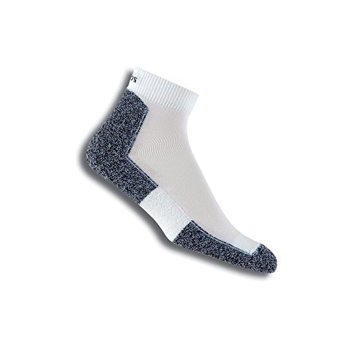 Thorlo Men's Lite Running Mini Crew Sock, White/Black, Small (Shoe size 6-8) -  LRMXM-004-10