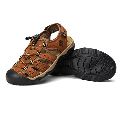 Lightbrown Outdoor Pelle Casual Da Beach Uomo Sandali Estiva Shoes ZHONGST Con Sandali In Foro OawqBBH