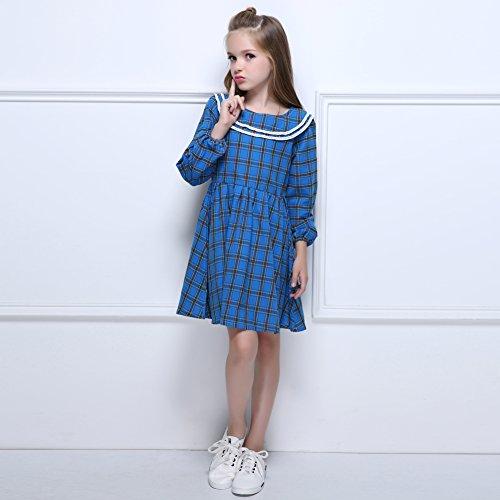 e384c82a649 Kseniya Kids Big Little Girls Peter Pan Collar Dresses Plaid Long Sleeve  Autumn Winter Girl Cotton