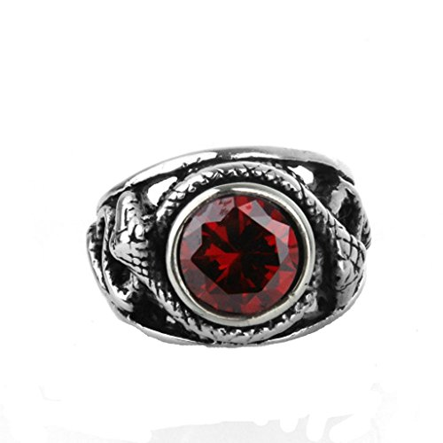 Epinki Jewelry Stainless Steel Vintage Punk Rock Men Silver Diamond Snake Ring 2CM Size 12