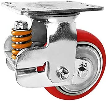 耐久性の高いユニバーサルホイール 鉄のコアポリウレタンキャスター100ミリメートルダンピング肥厚ミュート春ダンピングユニバーサルホイール 幅広い用途 (色 : 赤, Size : 4in)